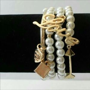 Pearl heart love arrow charm bracelet set NWT